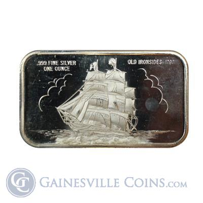 1 oz Silver Art Bar   Old Ironsides .999 (Madison Mint)