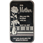 1987 For Mother May Your Life Be Filled With Joy 1 oz Silver Art Bar - National Mint (.999 Pure)
