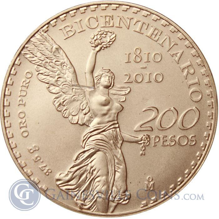 Image Showcase for 2010 Gold Mexican 200 Pesos Bicentenary Commemorative Coin (1.2057 oz of Gold)