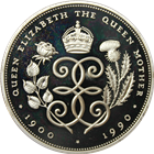 1990 5 Pound Proof Silver Queen Mother 90th Birthday - British Royal Mint (W/ Box & COA) .841 ASW