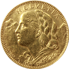 Gold Swiss 10 Franc Helvetia Random Date  - (.0933 oz of Gold)