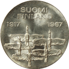 1967 Finland 10 Markkaa Silver Coin - 50th Anniversary of Independence (.6872 oz of Silver)