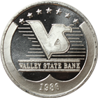 1986 Valley State Bank 1 oz Silver Art Round (.999 Pure)