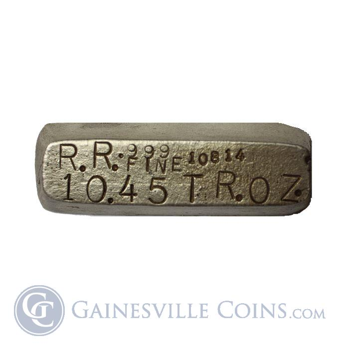 Image Showcase for 10.45 oz R.R. Refining Silver Bar - Poured (.999 Fine)