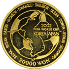 2002 Korea FIFA World Cup 1/2 oz Gold Coin - 20,000 Won