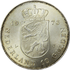 1973 Netherlands 10 Gulden Silver Coin | 25th Anniversary of Reign (.5787 ASW)