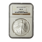2007-W Burnished 1 oz American Silver Eagle NGC MS70