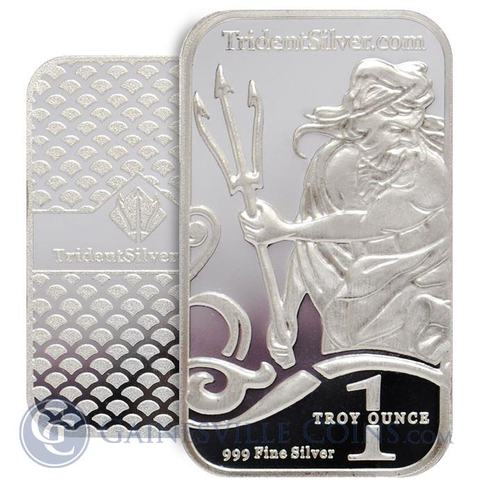 Image Showcase for 1 oz Trident Silver Bar (.999 Fine)