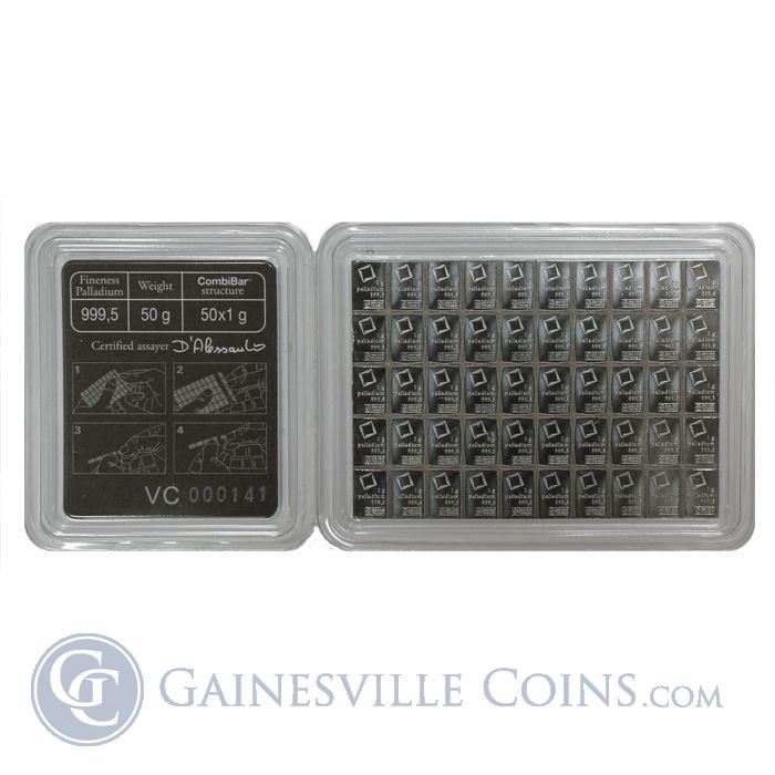 Image Showcase for 50 X 1 Gram Divisible Palladium Valcambi CombiBar - (1.6075 oz of Palladium) With Assay Card