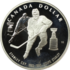 1993 Canadian Proof Silver Dollar - Stanley Cup Hockey (.7487 oz of Silver)