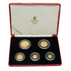 1986 Isle Of Man 5-Coin Proof Gold Angel Set