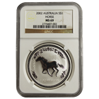 2002 1 oz Australian Silver Lunar Year Of The Horse NGC MS69 (Series 1)