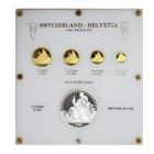 1986 5-Coin Proof Gold & Silver Switzerland Helvetia Set (1.85 gold & 5 oz Silver)