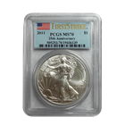 2011 1 oz Silver American Eagle PCGS MS70 First Strike (25th Anniversary)