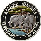 2013 1 oz Silver Somalian African Elephant - Colorized (.999 Pure)