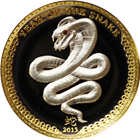 2013 Republic Of Palau 1 oz Proof Silver High Relief Lunar Snake (With Box & COA)