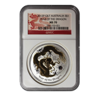 2012 Australian Lunar Year of the Dragon - 1 oz Gilded Silver Coin NGC MS70
