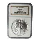 1991 1 oz Silver American Eagle NGC MS69