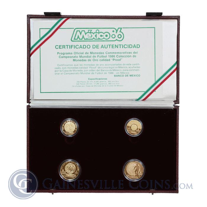 Image Showcase for 1985-86 Mexico 4-Coin Proof Gold World Cup Set (1.5 oz Of Gold)  - With Box and COA