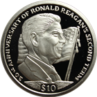 2004 $10 Proof Silver 20th Anniversary Of Ronald Reagan's Second Term (.841 oz) (Box & COA)