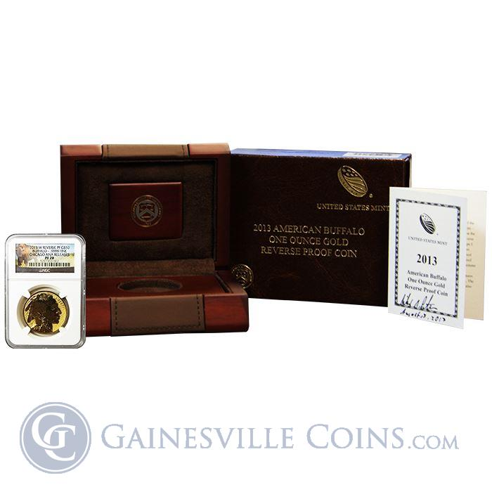 Image Showcase for 2013-W $50 Reverse Proof Gold Buffalo Chicago ANA Release NGC PF70 (With Hand Signed COA by Mint Director & OGP!)