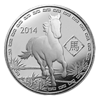 2014 1 oz Silver Year of the Horse Round (.999 Pure Silver)