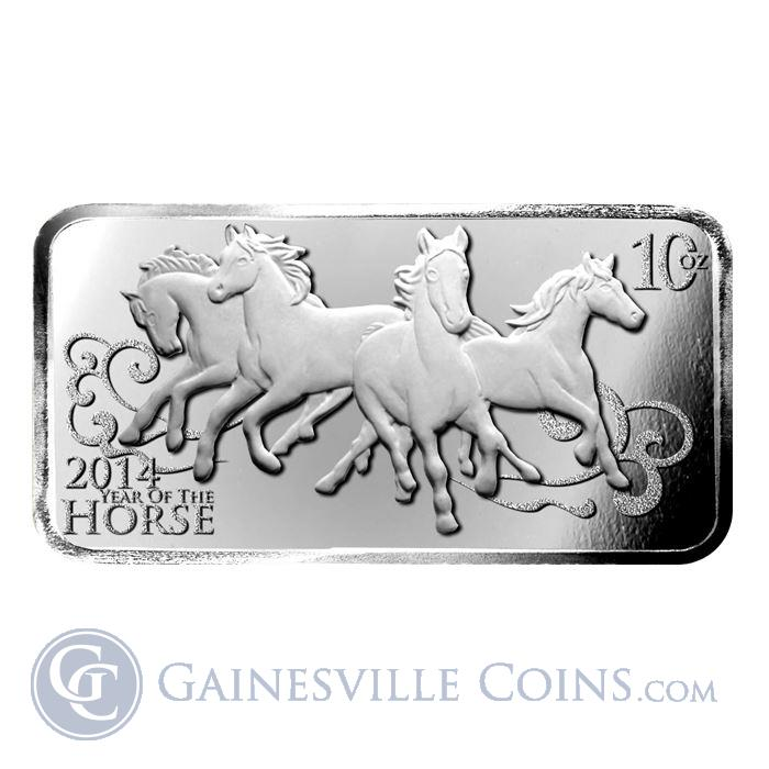 Image Showcase for 2014 10 oz Horse Design Silver Bar .999 Pure Silver