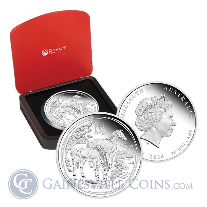 Image Showcase for 2014 1 Kilo Proof Silver Australian Lunar Year of the Horse