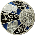 2013 5 oz Enameled Proof Silver UNESCO 850th Anniversary Of Notre Dame - 50 Euros (W/ Box & COA)