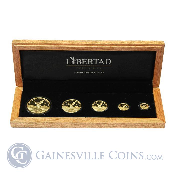 Image Showcase for 2008 Mexico 5-Coin Proof Gold Libertad Set - With Box & COA (1.9 oz AGW) Mintage of ONLY 500 Sets!