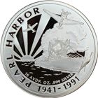 1941-1991 50th Anniversary of Pearl Harbor 14.58 oz Proof Silver Round (.999 Pure)