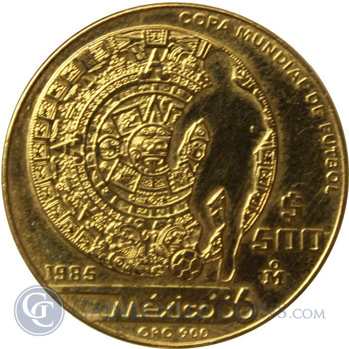 Image Showcase for 1985 Mexico 500 Peso Gold World Cup Coin (.50 oz of Gold)