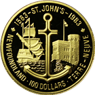 1983 Canadian $100 Proof Gold - 400th Anniversary of St. John's, Newfoundland (With Box & COA) .50 oz of Gold