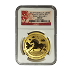 2014 1 oz Australian Gold Lunar Year of the Horse NGC MS70 Early Release