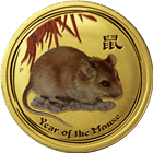 2008 Australia 1/2 oz Gold Year of the Mouse Coin - Colorized (Series II)