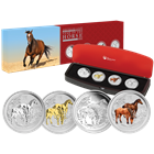 2014 Australia Silver Horse 4-Coin Typeset Collection - With Box & COA