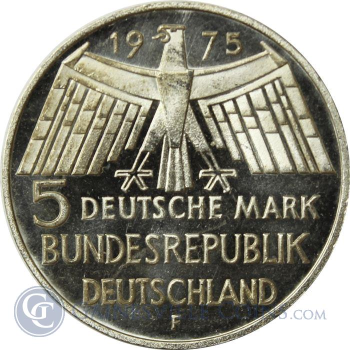 Image Showcase for 1975-1979 German 5 Deutsche Mark Silver Coin (0.225 oz of Silver)