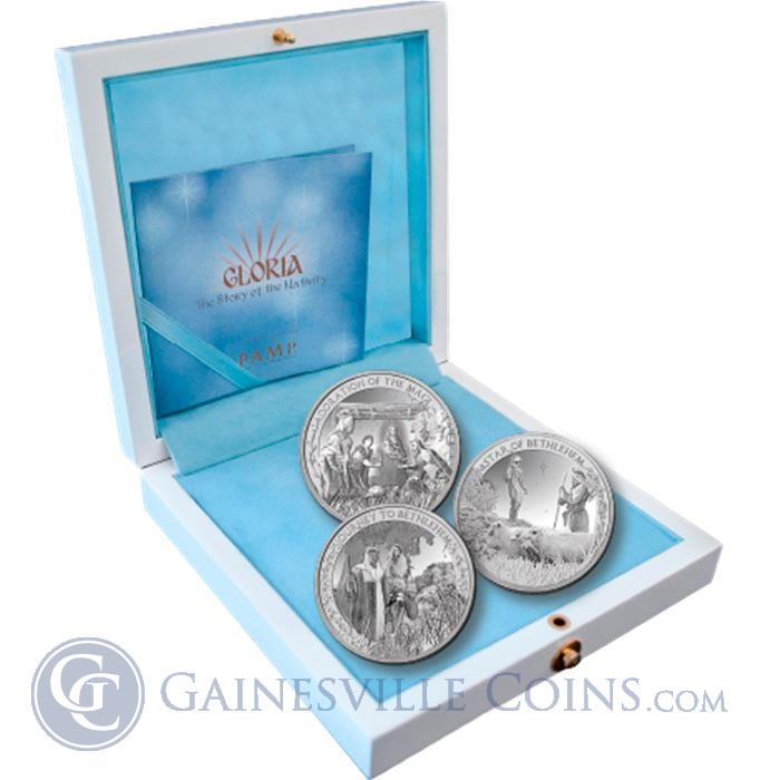 Image Showcase for PAMP Suisse Gloria Nativity Proof Silver 3-Coin Set (With Box & COA)