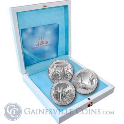 PAMP Suisse Gloria Nativity Proof Silver 3 Coin Set