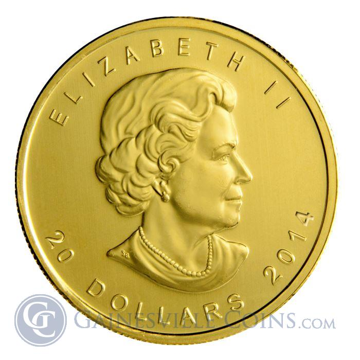 Image Showcase for 2014 1/2 oz Gold Canadian Maple Leaf