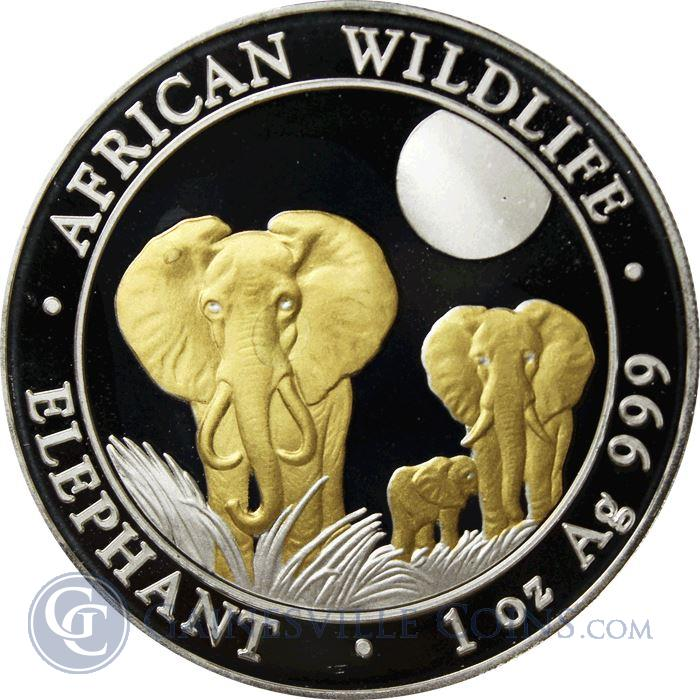Image Showcase for 2014 1 oz Somalia Silver Elephant - Gold Gilded