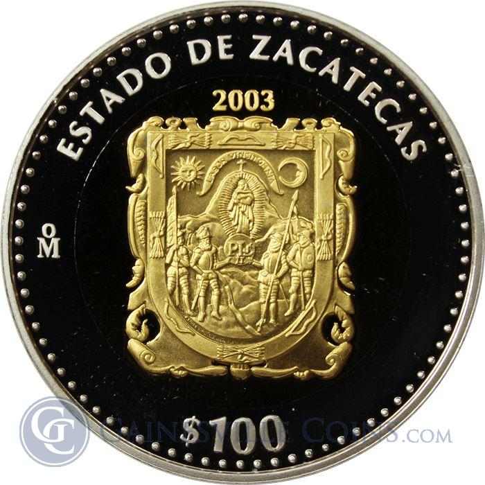 Image Showcase for 2003 Mexico Bi-Metallic Gold and Silver $100 Peso Coin (With COA)