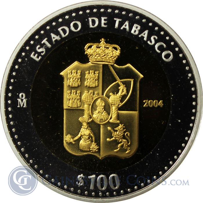 Image Showcase for 2004 Mexico Bi-Metallic Gold and Silver $100 Peso Coin (With COA)