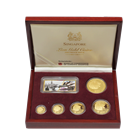 2000 Singapore Proof Gold Lion 5-Coin Set (With Dragon Privy) - 1.90 oz AGW  (With Box and COA) - #233 of 999 Sets!