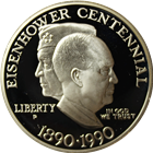 1990 Eisenhower Centennial Proof Silver Dollar Commemorative - With Box and COA