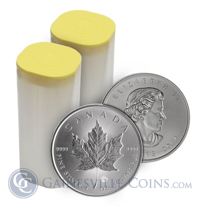 Image Showcase for 2014 1 oz Canadian Silver Maple Leaf - Mint Tube Of 25 Coins .9999 Fine (Brilliant Uncirculated)