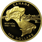 1992 Canada $100 Proof Gold Coin | 350th Anniversary of Montreal (.25 oz of Gold)