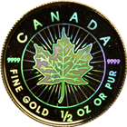 2001 1/2 oz Gold Canadian Maple Leaf Hologram