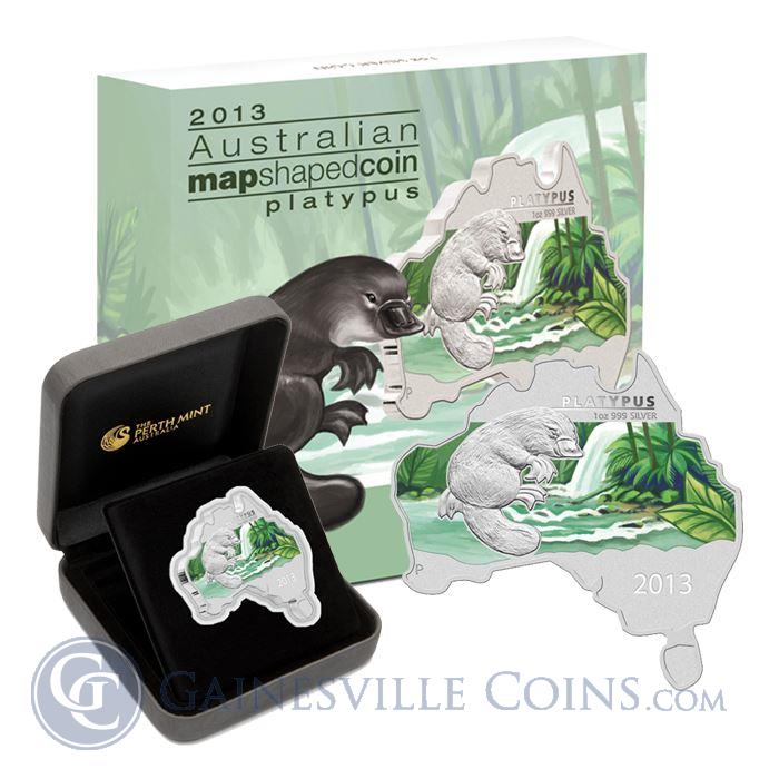 Image Showcase for 2013 1 oz Australia Proof Silver Map-Shaped Platypus (With Box & COA)