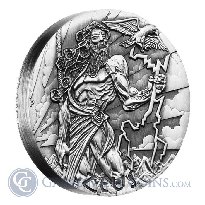 Image Showcase for 2014 Zeus Gods Of Olympus 2 oz High Relief Silver Coin Australia Perth Mint - With Box and COA